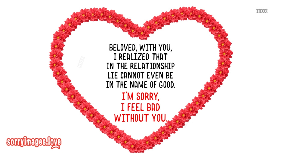 Sorry Image Quotes For Boyfriend | Beloved, With You, I Realized That In The Relationship Lie Cannot Even Be In The Name Of Good. I m Sorry I Feel Bad Without You