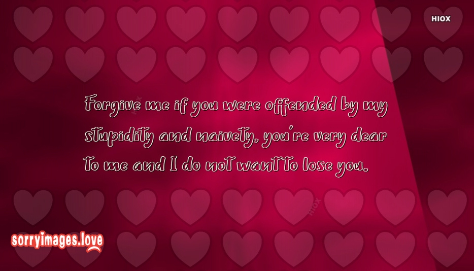 Sorry Quotes For My Boyfriend | Forgive Me If You Were Offended By My Stupidity and Naivety. You Are Very Dear To Mean I Do Not Want To Loose You