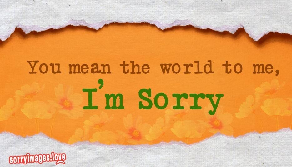 You Mean the World to Me, I Am Sorry @ SorryImages.Love